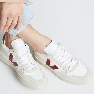 Veja V-10 lace up sneakers in white/Marsala